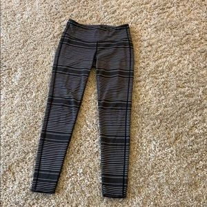 Black and gray striped Athleta leggings